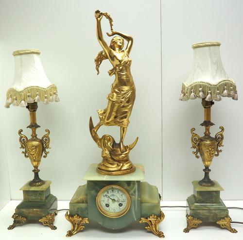 Incredible Art Nouveau Dancing Figural Mantel Clock Set 8 Day Striking Mantle Clock  with Side Lamps (1 of 15)