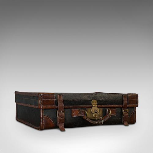 Antique Suitcase, English, Leather, Salesman, Banker, Travel Case, Edwardian (1 of 12)