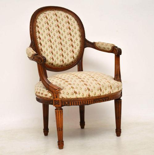 Antique French Carved  Walnut Salon Armchair (1 of 13)