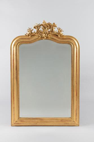 Large 19th Century French Gilt Overmantle  Mirror (1 of 9)