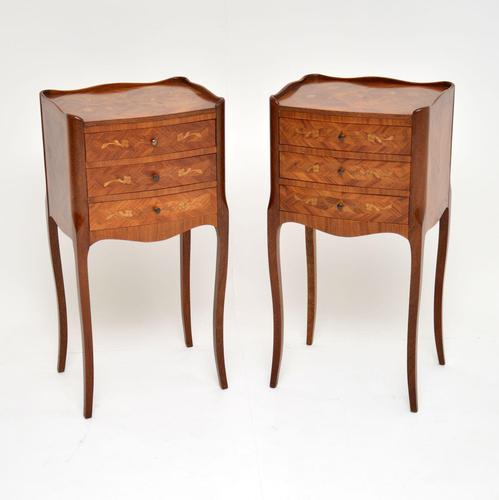 Pair of Antique French Inlaid Marquetry Bedside Tables (1 of 10)