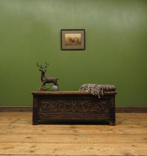 Continental Carved Oak Coffer, Blanket Box, Hall Storage Chest for shoes (1 of 13)