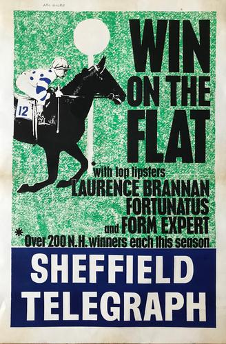 Original lithographic poster 'Win on the flat' by Frank Lynton Giles for the Sheffield Telegraph c.1965 (1 of 3)