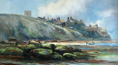 Henry Hadfield Cubley Oil Painting 'Whitby from the Shore' (1 of 3)