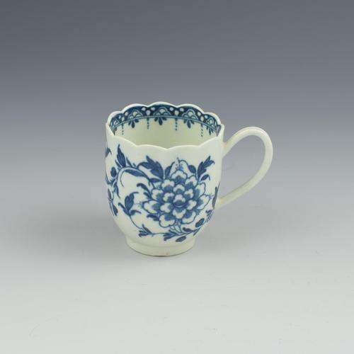 First Period Worcester Porcelain Scalloped Peony Coffee Cup c.1765-1770 (1 of 8)