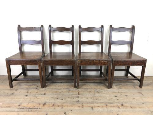 Set of Four 19th Century Oak Farmhouse Chairs (M-189) (1 of 17)