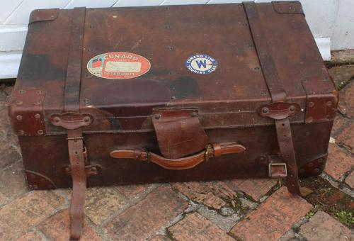 1910's Great Leather Storage Trunk with Cunard White Star Label (1 of 4)