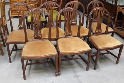 1900's Mahogany Set 8 Hoop Dining chairs with Pop out Seats in Gold (1 of 3)