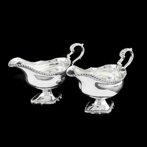 Pair of Georgian Solid Silver Pedestal Sauce Boats - William Collins 1774 (1 of 24)