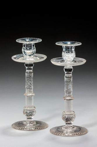 Pair of Late 18th Century Glass Candlesticks (1 of 3)