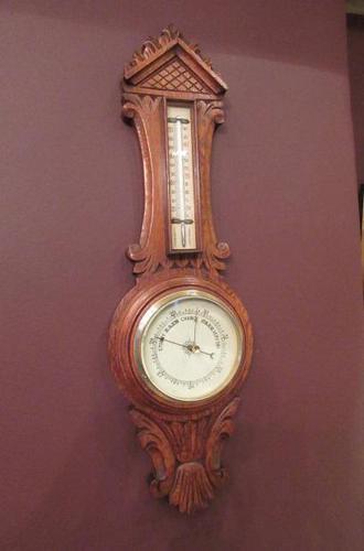 Small  Antique Polished Oak Decorative Banjo Barometer (1 of 8)