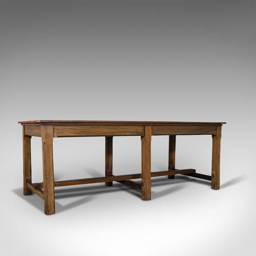 Large Antique Refectory Table, English, Teak, Mahogany, Dining, Industrial, 1900 (1 of 12)