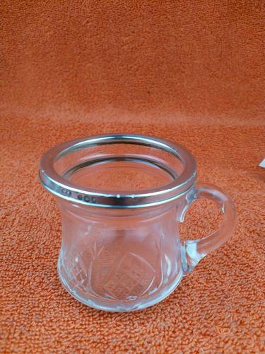 Antique Sterling Silver Hallmarked  Cut Glass Cup Mug 1932, Walter Gardener Groves, London (1 of 8)
