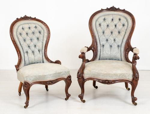 Pretty Pair of Victorian His and Her Walnut Parlour Chairs (1 of 9)