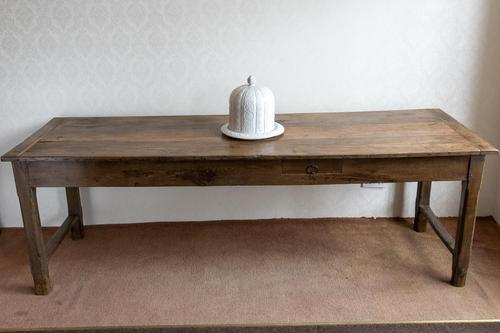 19th Century Oak Farmhouse Table with Drawer (1 of 9)