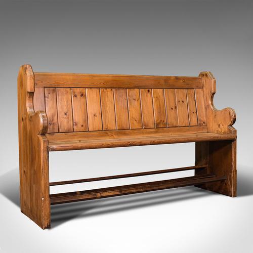 Antique Bench Seat, English, Pine, Pew, Ecclesiastic Taste, Victorian c.1900 (1 of 12)