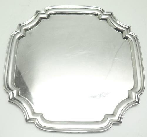 English Antique Solid Silver Tray, Super Design Fresh & Clean c.1970 (1 of 5)