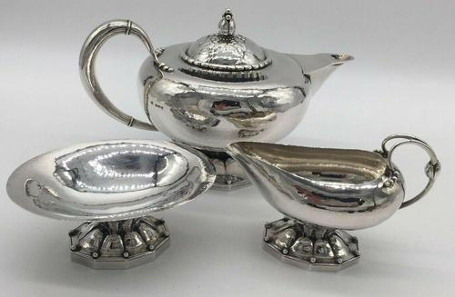 Rare Early Georg Jensen Silver Tea Set Leaf & Berry 181 1924 (1 of 10)