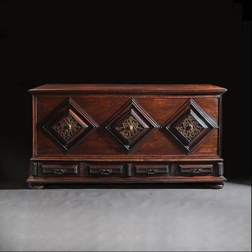 Imposing 17th Century Portuguese Colonial Mahogany & Brass Chest (1 of 8)