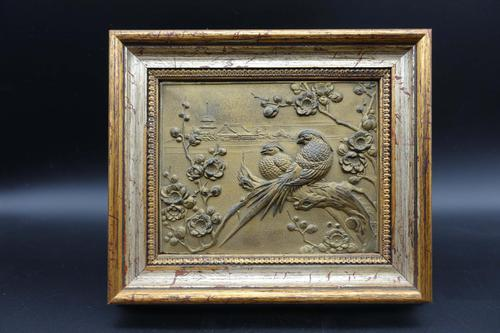 Early 20th Century Cold Cast Bronze Plaque of Two Lovebirds (1 of 5)