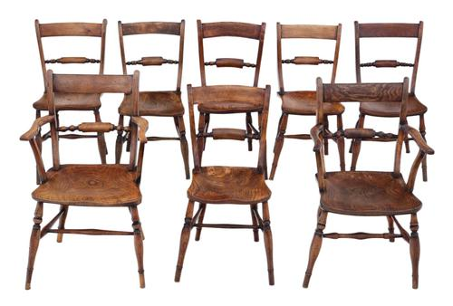 Matched Set of 8 Elm & Beech Kitchen Dining Chairs Mid-19th Century Oxford Knife-back (1 of 8)