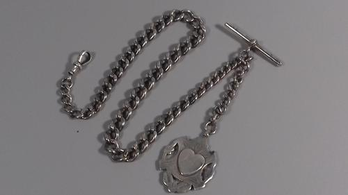 Edwardian sterling silver graduated albert fob pocket watch chain + heart medal 1902 (1 of 11)