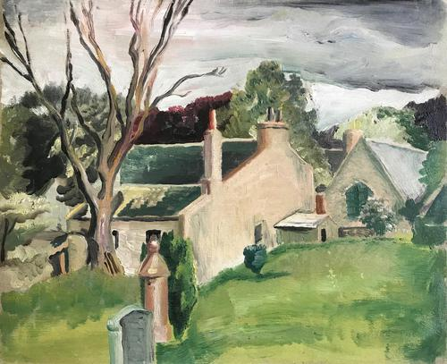 Original Oil on Board 'Scottish farm' by Helmut Petzsch 1920-2008. Signed & Dated on the reverse 1957 (1 of 1)