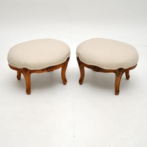 Pair of Antique French Carved Walnut Foot Stools (1 of 4)