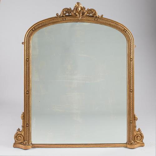 Large Victorian English Gilt Archtop Overmantle Mirror (1 of 7)