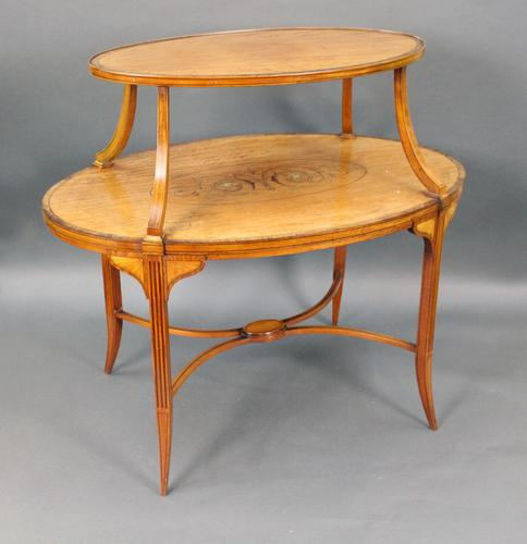 Elegant Inlaid Satinwood Étagère Two Tier Table c.1890 (1 of 6)