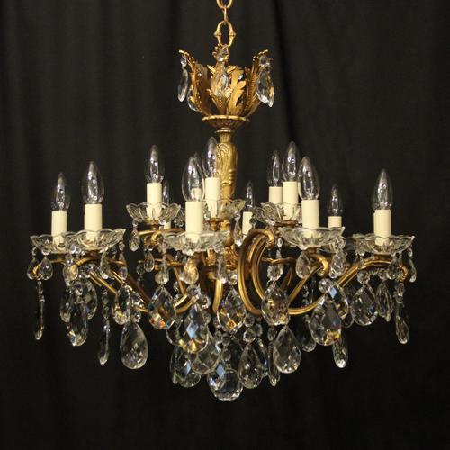 Italian 15 Light Gilded Brass Antique Chandelier (1 of 10)