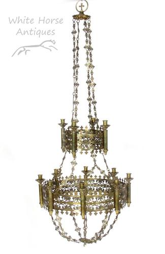 Exceptional Antique Gothic Brass Two Tier Chandelier after Augustus Pugin (1 of 1)