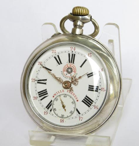 Antique Silver Wille Frères Roskopf Pocket Watch (1 of 5)