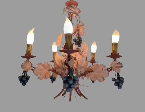 Vintage French 5 Arm Toleware Ceiling Light Chandelier with Grapes (1 of 7)