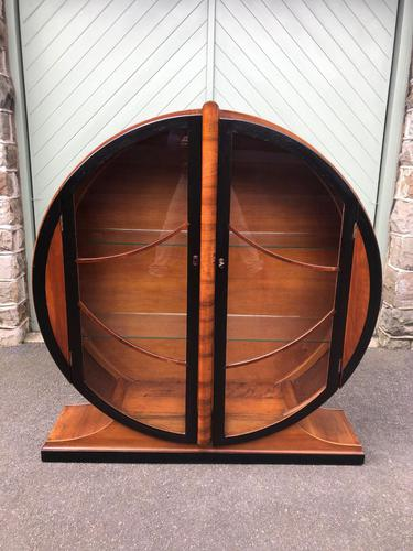 Art Deco Walnut & Ebonised Round Display Cabinet (1 of 11)
