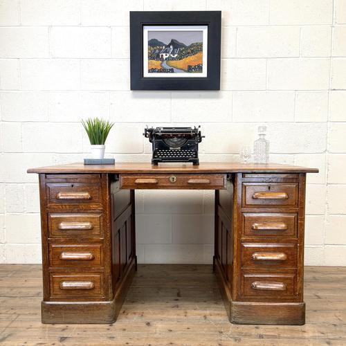 Antique Oak Pedestal Desk (1 of 10)