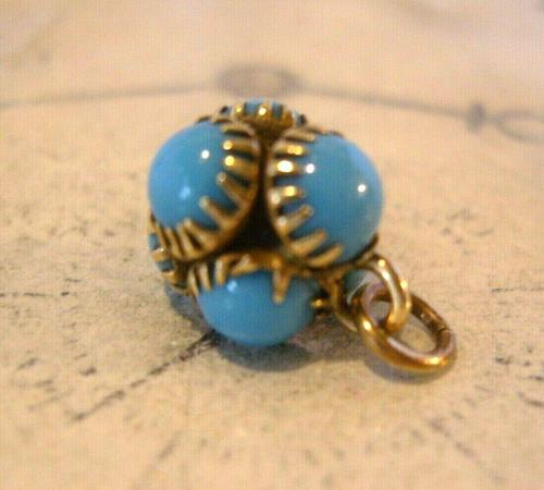 Georgian Pocket Watch Chain Fob 1830s Golden Gilt & Turquoise Dainty Ball Fob (1 of 7)