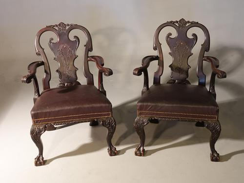 A Pair of Finely Carved Early 20th Century Mahogany Armchairs (1 of 7)