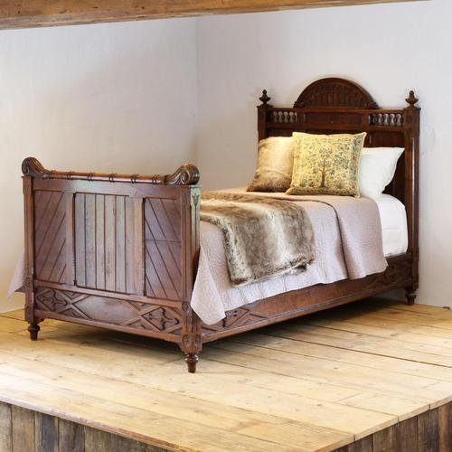 Gothic Style Single Walnut Antique Bed (1 of 8)