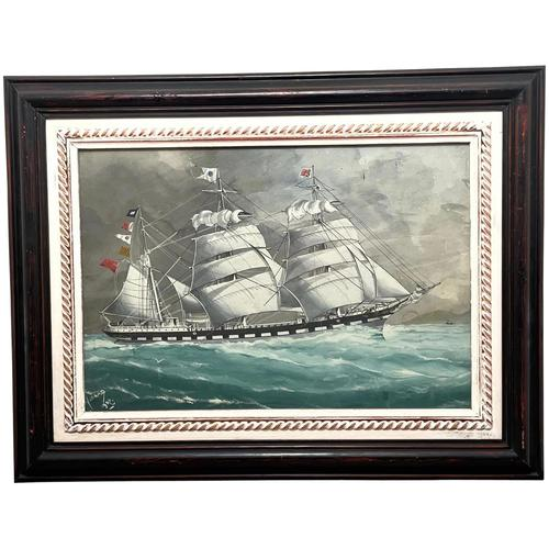 """Edwardian Watercolour """"Champion Of The Seas"""" Ship Black Ball Line Off Cape of Good Hope Signed Pierhead Artist Williams (1 of 39)"""
