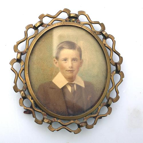 Attractive Portrait Miniature in a Quality Arts & Crafts Frame 19th Century (1 of 6)