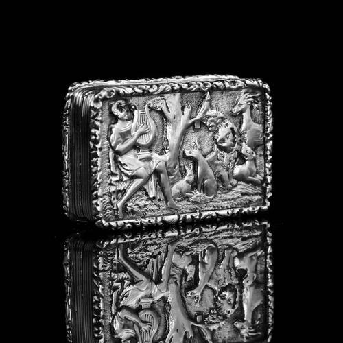 "Rare Antique Georgian Solid Silver Vinaigrette Figural Scene with Animals & Harp ""Orpheus Enchanting Animals""- Joseph Taylor 1827 (1 of 18)"