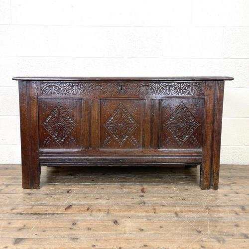 18th Century Carved Oak Coffer (1 of 10)
