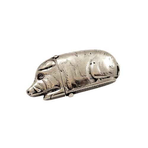 Antique Victorian Sterling Silver Boar / Wild Pig Vesta 1885 (1 of 9)