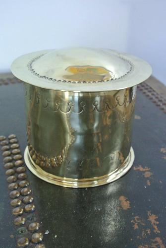 Victorian Brass Tobacco Box & Tamper c.1905 (1 of 4)