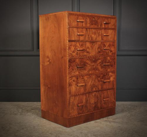 Art Deco Figured Walnut Chest by Maple & Co. (1 of 13)