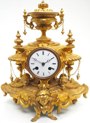 Wow! Incredible French Gilt Metal Mantel Clock Striking 8-Day Mantle Clock (1 of 10)