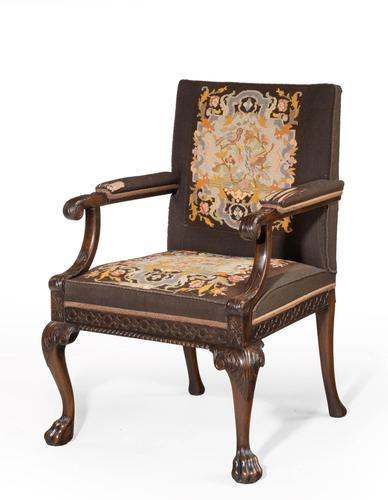 Well Carved Mahogany Framed Gainsborough Type Chair (1 of 6)