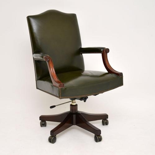 Antique Georgian Style Leather & Mahogany Swivel Desk Chair (1 of 11)