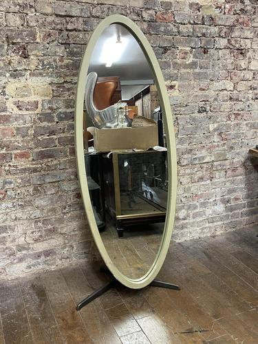Olive Coloured 1960's Oval Mirror (1 of 5)